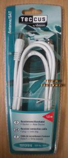 Teccus by Vivanco Receiveranschlusskabel SAT Kabel 1,5m F-St.> Koax Stecker*so40