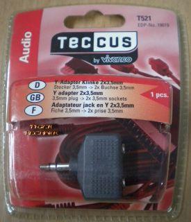 Teccus by Vivanco Audio Y Adapter Klinke Stecker 3,5mm - 2x Buchse 3,5mm* so58