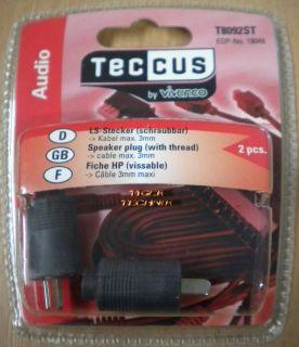 Teccus by Vivanco 2Stück Lautsprecher Stecker schraubbar - max. 3mm Kabel* so61