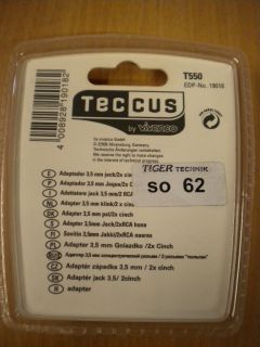 Teccus by Vivanco Audio Adapter Klinke Stecker 3,5mm - 2x Buchse Cinch* so62