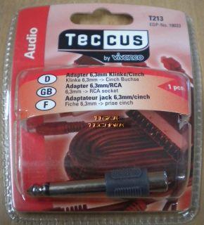 Teccus by Vivanco Audio Adapter Wandler Klinke Stecker 6,3mm Cinch Buchse* so64