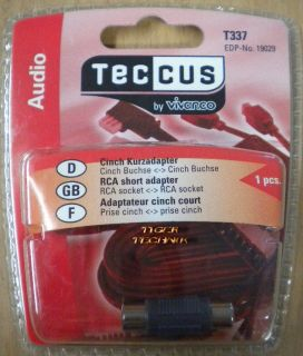 Teccus by Vivanco Audio Kurzadapter Chinch Buchse - Chinch Buchse so65