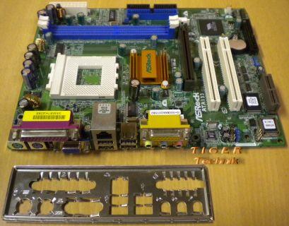 ASRock K7VM2 Rev3.01 Mainboard+Blende Sockel A 462 FSB266 VGA Sound LAN AGP*m119