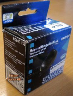Schwaiger NG600 USB Universal-Netzgerät 600mA 3 V bis 12 V* nt718