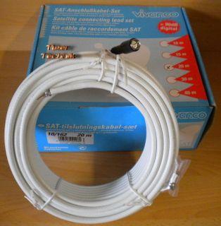 Vivanco SAT Anschlusskabel Set 20m F-Stecker weiß 90dB High Quality *so225