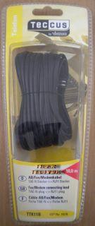 Teccus by Vivanco AB Fax Modem Kabel 10m Länge TAE-N Stecker - RJ11 *so210