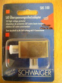Schwaiger SBS100 SAT Überspannungsschutz Adapter Leitung mit F-Connectoren*so310