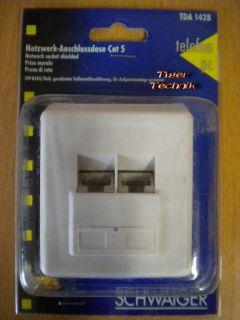 Schwaiger TDA 1428 Aufputz Netzwerk Anschlussdose Cat 5 RJ45 8x8 *so318