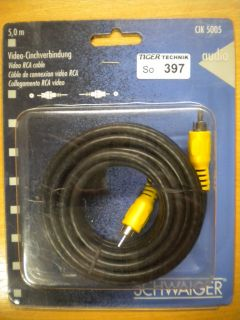 Schwaiger Cinch Video Kabel Koax Composite 5m Cinch Stecker - Stecker *so397