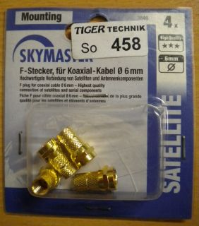 4x Skymaster F-Stecker vergoldet für Koaxialkabel Ø 6mm Hochwertig! * so458