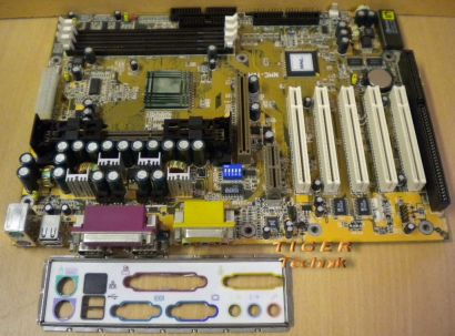 NMC NMC-7VAX Rev 0.4 Mainboard +Blende AMD Slot A VIA KX133 AGP PCI ISA Aud*m566