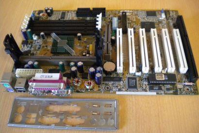 Asus P3B-F Rev 1.04 Mainboard + Blende ISA Slot 1 Intel 440BX AGP PCI USB* m576