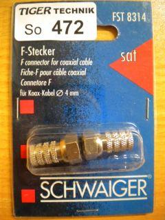 2x Schwaiger FST 8314 F-Stecker für Koaxialkabel 4mm Durchmesser* so472