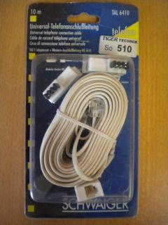 Schwaiger Telefon Kabel Modular 10m +Adapter Telekom Siemens International*so510
