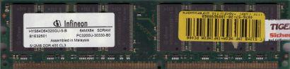 Infineon HYS64D64320GU-5-B PC3200U-30330-B0 512MB DDR1 400MHz CL3 RAM* r91