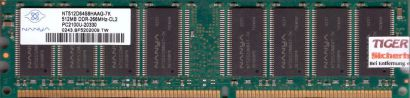 Nanya NT512D64S8HAAG-7K PC2100U-20330 CL2 512MB DDR1 266MHz RAM* r153