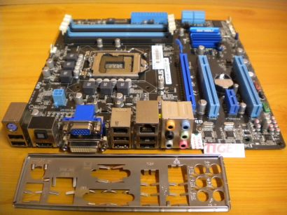 Asus P7H55-M Rev 1.02G Mainboard +Blende Sockel 1156 DDR3 PCIe GLAN 7.1 Aud*m654