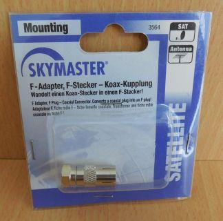 Skymaster F-Adapter Adapter F Stecker F-Stecker zu Koax Kupplung silber* so598