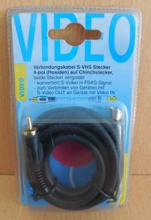BigBalloon S VHS Video FBAS Kabel 1,5m 4-pol Mini DIN Stecker Cinch HQ* so638