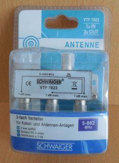 Schwaiger VTF7823 SAT Verteiler 3 fach 1xIn 3xOut Frequenzen 5-1000MHz 7dB*so666