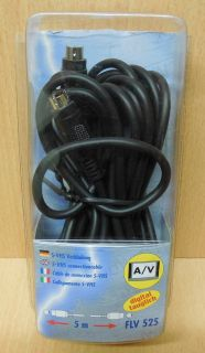 Schwaiger FLV 525 S-VHS Verbindung Kabel 5m 4-pol Mini DIN Stecker Stecker*so672