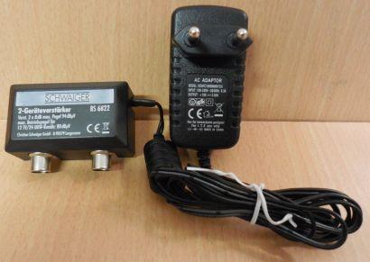 Schwaiger BS 6822 2 Geräte TV Verstärker 2x 8dB kabeltauglich mit Netzteil*so690