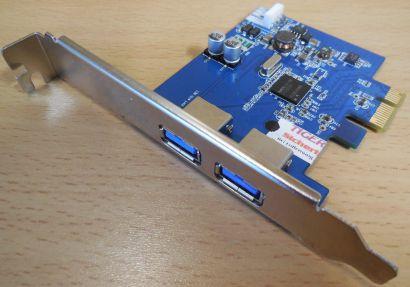 2 Port USB 3.0 PCIe PCI Express Karte Adapter Card NEC D720200F1 chip blau* sk46