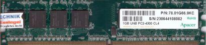 Apacer 78.01G66.9KC PC2-4300 1GB DDR2 533MHz CL4 Arbeitsspeicher RAM* r429