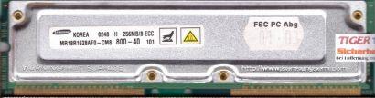 Samsung MR18R1628AF0-CM8 800-40 PC800 256MB 8 ECC RDRAM 800MHz Rambus RIMM* r476