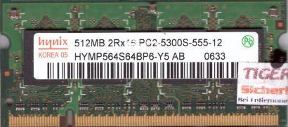 Hynix HYMP564S64BP6-Y5 AB PC2-5300 512MB DDR2 667MHz SODIMM Arbeitsspeicher*lr30