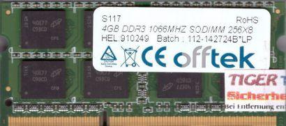 Offtek PC3-8500 4GB DDR3 1066MHz SODIMM RAM Arbeitsspeicher* lr32