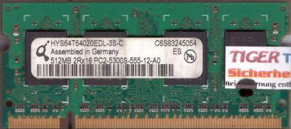 Qimonda HYS64T64020EDL-3S-C PC2-5300 512MB DDR2 667MHz SODIMM RAM* lr51