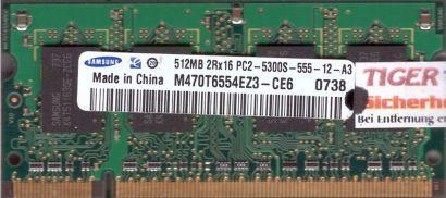 Samsung M470T6554EZ3-CE6 PC2-5300 512MB DDR2 667MHz SODIMM Arbeitsspeicher* lr62