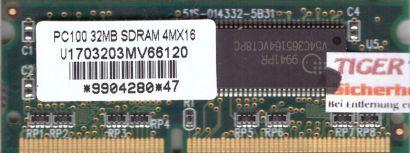 Mosel Vitelic U1703203MV66120 PC100 32MB SDRAM 100MHz SODIMM SD RAM* lr66