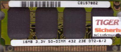 432 23E D72-6 2 16MB SODIMM 3.3V RAM Arbeitsspeicher* lr86