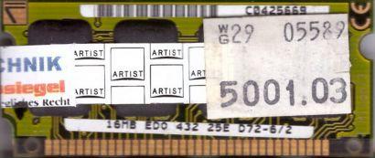 432 25E D72-6 2 16MB SODIMM EDO RAM Arbeitsspeicher* lr87