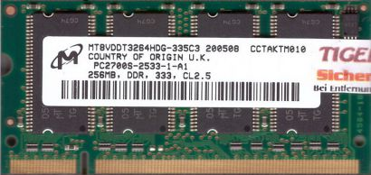 Micron MT8VDDT3264HDG-335C3 PC-2700 256MB DDR1 333MHz SODIMM RAM Memory* lr90