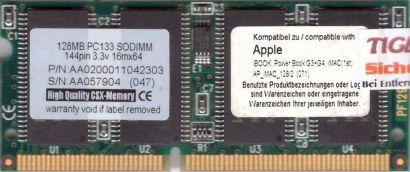 PC133 128MB SDRAM 133MHz SODIMM RAM Apple iBook Powerbook G3 G4 kompatibel* lr93