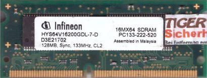 Infineon HYS64V16200GDL-7-D PC133 128MB SDRAM 133MHz CL2 SODIMM SD RAM* lr102