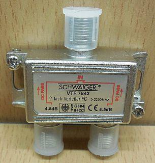 Schwaiger VTF 7842 SAT Verteiler 2 fach 1x In 2x Out Frequenzen 5-2250MHz* so868