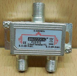 Schwaiger FLS 512 SAT Verteiler 2 fach 1x In 2x Out Frequenzen 5-2250MHz* so865