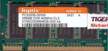 Hynix HYMD232M646D6-D43 AA PC-3200 256MB DDR1 400MHz SODIMM RAM* lr137