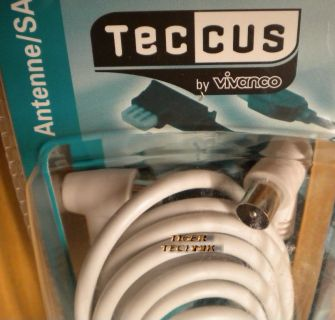 Teccus by Vivanco TV Radio Winkel Antennenkabel >90dB 5m Koax Stecker Kupp.*so44