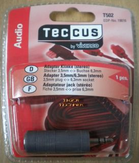 Teccus by Vivanco Audio Adapter Klinke Stecker 3,5mm - Buchse 6,3mm so57