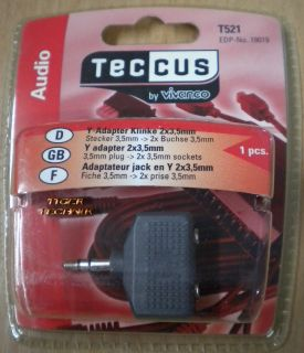 Teccus by Vivanco Audio Y Adapter Klinke Stecker 3,5mm - 2x Buchse 3,5mm* so58