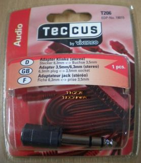 Teccus by Vivanco Audio Adapter Klinke Stecker 6,3mm - Buchse 3,5mm* so63