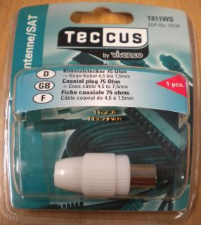 Teccus Vivanco Video Adapter Koaxialstecker 75 Ohm - 4,5mm - 7,5mm Kabel so68