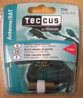 Teccus by Vivanco Video Koaxial Doppelstecker Koax Stecker - Koax Stecker* so69
