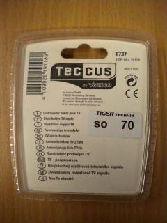 Teccus Vivanco TV Zweifach 2 fach Verteiler Koax Kupplung 2x Koax Stecker* so70