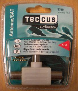 Teccus T710 Radio Zweifach 2 fach Verteiler Koax Stecker 2x Koax Kupplung* so72